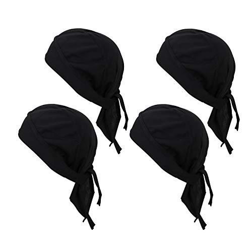 GUIFIER 4er Pack Outdoor Sports Kopfbedeckung Atmungsaktives Netz Radfahren Bandana Unter Helm Stirnband Piratenhut, Schädelkappe Bandana Kühlung Motorrad Helm Liner Beanie Biker Cap für Männer Frauen