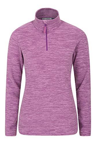 Mountain Warehouse Snowdon Damen-Fleecejacke - Antipill, Leichter Pullover, halber Reißverschluss, atmungsaktives Sweatshirt, schnelltrocknend - zum Wandern, Reisen Violett 36