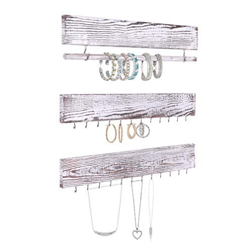 Comfify Set of 3 Rustic Wood & Gold Tone Metal Jewelry Organizers - Rustic White