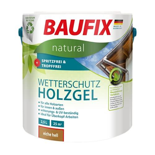 BAUFIX natural Wetterschutz-Holzgel eiche hell, 2.5 Liter, atmungsaktive Ökofarbe aus nachhaltiger Produktenb für außen & innen, vegan, witterungsbestöndig, UV-beständig, für alle Holzarten geeignet