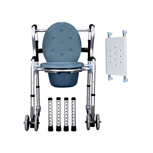 Enwebalay 6 RäDer Gehgestell mit Toiletteneimer, Erwachsene Toilettenstuhl Fahrbar, Tragbares Wc Rollstuhl mit Feststellbremse für Menschen mit EingeschräNkter MobilitäT,Flagship