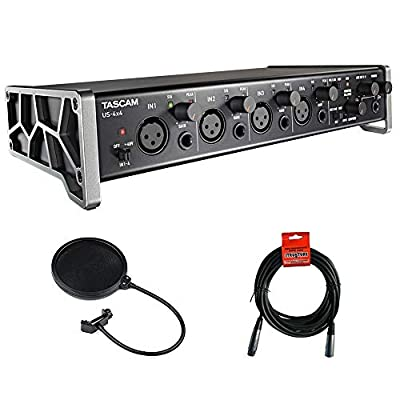 Tascam US-4x4 4-Channel USB Audio Interface with XLR-XLR Cable & Pop Filter Bundle from TASCAM