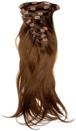 Love Hair Extensions - LHE/A1/QFC/120G/10PCS/18/6 - 100 % Cheveux Naturels Lisses et Soyeux - 10 Pièces Clippants en Extensions - Couleur 6 - Brun Foncé Cendré - 46 cm