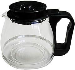 Tecnhogar 00566 - Jarra cónica universal para cafetera con tapa regulable altura, transparente/negro, capacidad 1 L