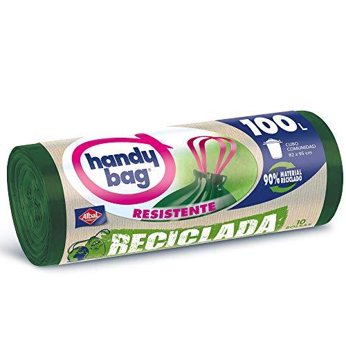 Handy Bag Bolsas de Basura 100L, 90% Reciclado, Extra Resistentes, 10 Bolsas