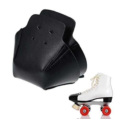 2 Pieces Toe Cap Guards Protectors Toe Caps Artificial Leather Roller Skate Cap Protectors for Quad Roller Skate (Black)
