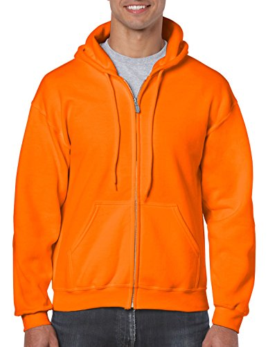 Gildan Men's Fleece Zip Hooded Sweatshirt Safety Orange Small