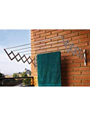 MM RETAILS Cloth Dryer Stand with 5 Lines/Clothesline for Aluminum Wall Or Balcony/Wall Mounted Clothes Drying Rack