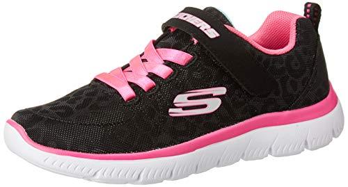 Skechers Jungen Mädchen Summits Sneaker, Schwarz Schwarz glitzerndes Mesh Neon Pink Besatz BKNP, 28 EU