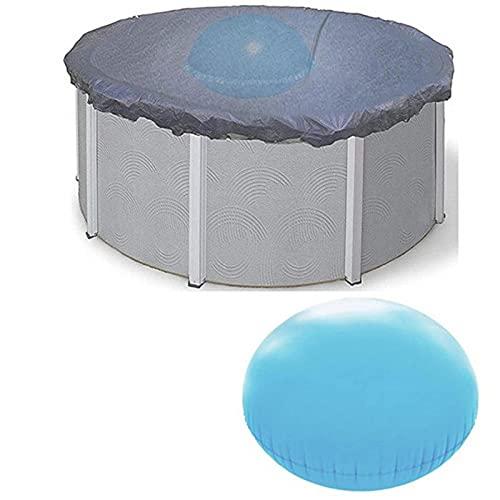 Cojín inflable de invierno para piscina | Cojines de invierno | Almohada de aire de invierno flotante duradera de 120 X 120 CM, azul mejorada, gruesa, redonda, para cubierta de piscina sobre el suelo