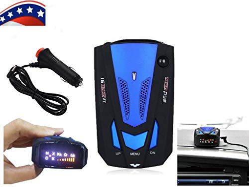 16 Band V7 GPS Auto-Radarwarner, Sprachalarm und 360 Grad Geschwindigkeitsalarmsystem mit Erkennung, Radarwarner für Autos
