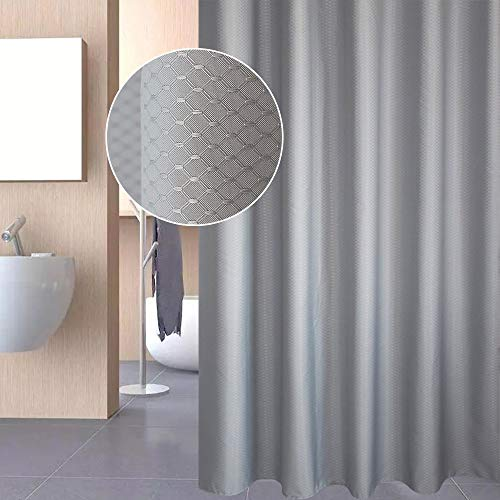 EurCross Extra Wide Shower Curtain 96 x 72, Solid Gray Waffle Weave Fabric Shower Curtain for Bathroom, Heavyweight, Water-Repellent 8ft Wide by 6ft Long