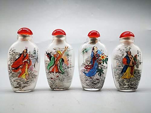 4pc Haushalt Chinesische Glasmalerei Thema Traditionelle Chinesische Mythologie Acht Unsterblichen Riechflaeschchen chinesischer Stil Traditionell handgemaltes Hauptdekoration chinesisches Glas Wein D