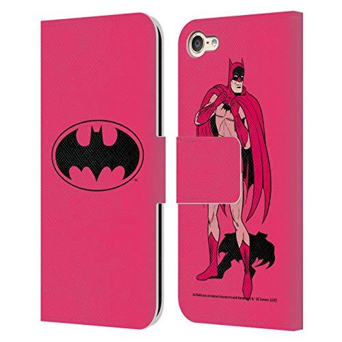Head Case Designs Oficial Batman DC Comics Rosa Logotipos Carcasa de Cuero Tipo Libro Compatible con Apple Touch 6th Gen/Touch 7th Gen