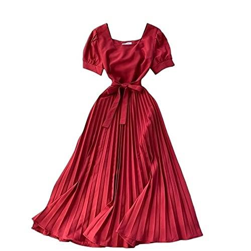 Laura Lily - Nuevo 2021 Vestidos Mujer. Falda Plisada, Vestido de Tejido...