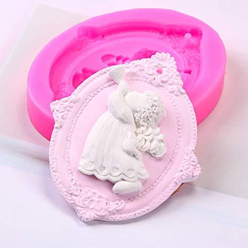 TIANDI Molde deÁngel 3D paraniñaDIY Fondant Cake Molde de Silicona para Hornear Vela Aroma Yeso Herramientas para Hacer moldes de Silicona