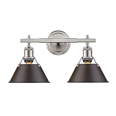 Golden Lighting 3306-BA2 PW-RBZ Orwell - Two Light Bath Vanity, Pewter Finish with Rubbed Bronze Shade