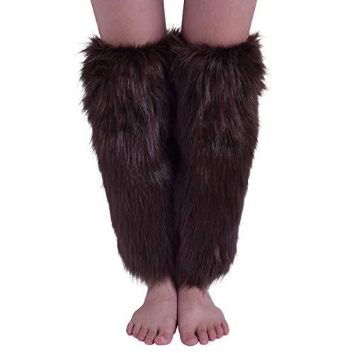 Nanxson Damen Furry Fuzzy Beinwärmer Winter Warm Beinlinge Lange Booten Stulpe Abdeckung TTW0034 (Koffee
