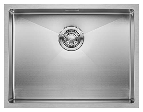 Lavello da Cucina in Acciaio Inossidabile MIZZO Linea | Lavandino a Incasso, Filotop o Sottotop | Spessore 1.2mm | Vasca Singola Quadrata in Acciaio Inox | Raggio Interno da 10 mm (55 cm)