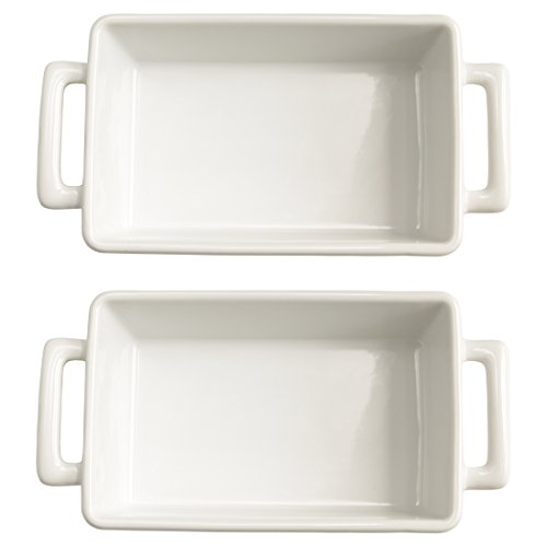 HIC Harold Import Co - Set di 2 vaschette per lasagne, 20 x 15 cm, colore: Bianco