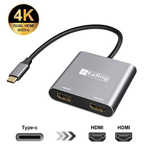 Adaptador HDMI Eafing, 2 en 1 tipo C a HDMI divisor simultáneamente, salida 4Kx2k@60HZ (30HZ), compatible con ordenadores portátiles/pad/móviles Windows y Mac OS Sys