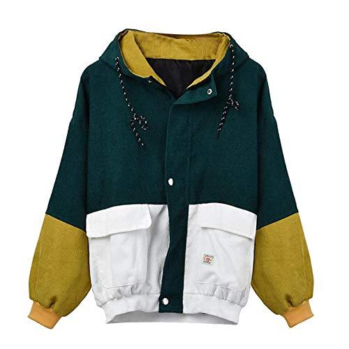 nobrand Frauen-Winter-warme Farben-Block-mit Kapuze Kordjacke-Lange Hülsen-Patchwork-übergroße Reißverschluss-Jacke