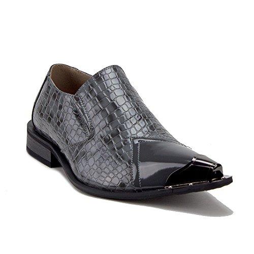 Jazame Men's Urban 26926 Metal Tip Faux Snake Skin Pointed Loafers Dress Shoes, Black, 9.5