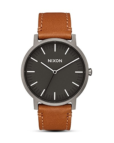 Nixon Armbanduhr Porter Leder Gunmetal / Charcoal / Taupe
