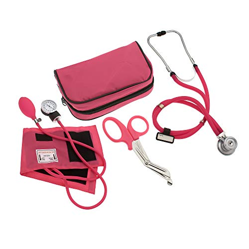 """ASATechmed Nurse/EMT Starter Pack Stethoscope, Blood Pressure Monitor and Free Trauma 7.5"""" EMT Shear Ideal Gift for Nurse, EMT, Medical Students, Firefighter, Police and Personal Use (Pink)"""
