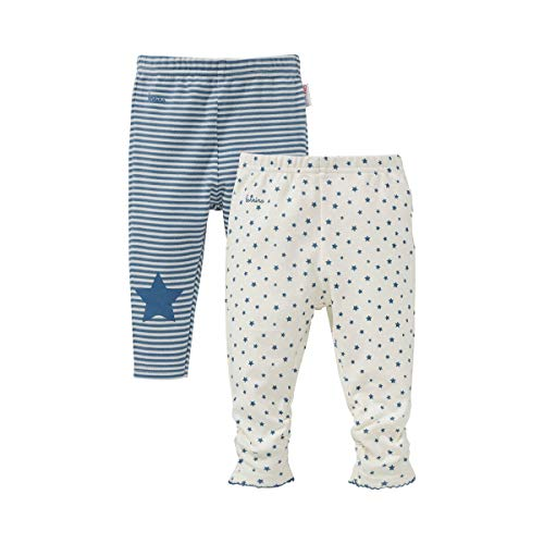 Bornino Lot de 2 leggings « étoile » pantalon bébé, offwhite printed