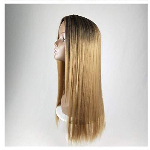 Peluca sintética larga larga peluca recta de pelo de color de gradiente de color peluca completa para mujeres pelo con bollos largos pelucas resistentes al calor pelucas largas para cosplay / fiesta (