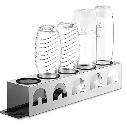 ecooe Escurridor con alfombrilla de goteo y anillos protectores de bordes de acero inoxidable para jarras de cristal SodaStream y botellas Emil para 5 botellas y 5 tapas/soporte para botellas