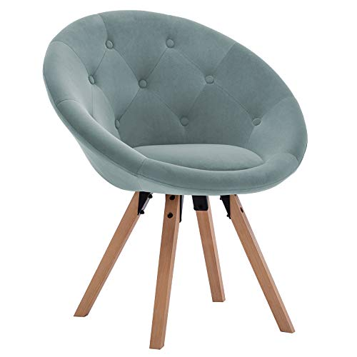 Duhome Modern Velvet Upholstered Desk Chair Accent Chair Makeup Chair Office Chair Without Wheels Mid Mentury Modern Chair Vanity Makeup Stool Robin's Egg Blue
