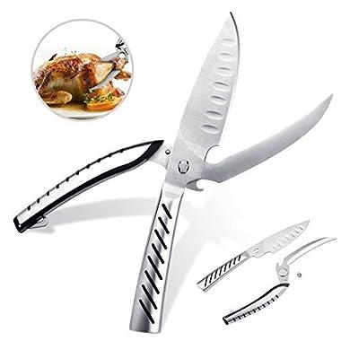 deenor Multi Purpose Scissors Kitchen Shears Heavy Duty Poultry Shears Premium Ultra Sharp Stainless Steel Material Cut Bone & Meat Fish & Chicken Scissors Separable BBQ knife & Bottle Opener