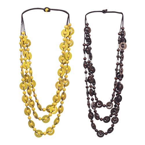 freneci 2 Collares para Mujeres, Niñas, Concha de Coco, Cuentas de Madera, Collar Largo, Joyería, (1x) Amarillo (1x) Marrón