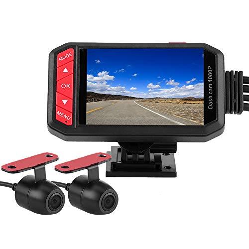 Qiilu Motorcycle Dash Cam, 2,7 Zoll 1080P Motorrad DVR Dual Lens Vordere Rückansicht WiFi-Kamera G-Sensor Loop Recording Dashcam