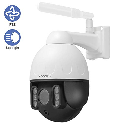 [Floodlight PTZ CAM] XMARTO 1080p WiFi PTZ Security Camera Wireless for Home Security, Pan Tilt Zoom, 2-Way Audio, Motion Detection Alert & Siren, IP66, Control from Phone(Add-on to NVR or standalone) Cameras Dome