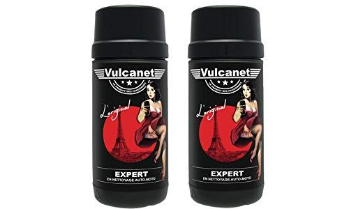 2 x Vulcanet Reinigungstücher, für Auto, Motorrad + Mikrofaser-Tuch (2) Tücher zum Reinigen Polieren Schützen Auto Motorrad alle Oberflächen ohne Risiko von Kratzern, Ohne Wasser, ohne Ausrüstung