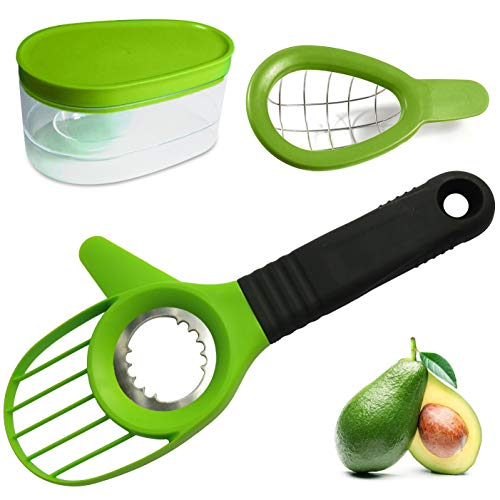 Avocado 3 Piece Set Avocado Slicer, Knife, Peeler, Pitter, Cuber, Dicer, Keeper For Everything That You Will Ever Need For Your Avocados