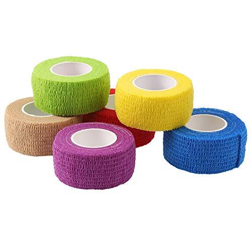 Opopark 6 Rolls Cintas de Recuperación de Kinesiología Cinta Autoadhesiva Vendaje Adhesivo de Primeros Auxilios Color Vendaje Autoadhesivo No Tejido
