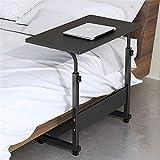 NNDQ Computer-Nachttisch, höhenverstellbarer Schreibtisch, Laptop-Schreibtisch, mit 4 Rädern, tragbarer Rollwagen-Beistelltisch, für Office Home, Schwarz