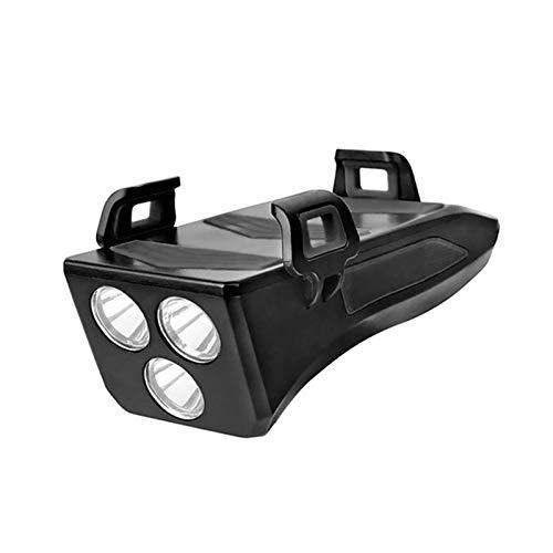 EMGQ Luz de Bicicleta de montaña 4 en 1 Bike Front Light USB Recargable Teléfono Soporte Cuerno 4000mAh Power Bank for Ciclismo de Ciclo al Aire Libre Entretenimiento (Color : Black)