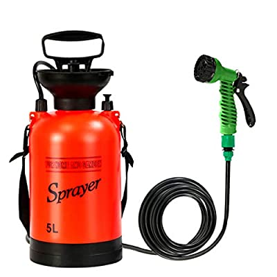 CLICIC Pressure Sprayer with 7 Spray Modes, Camping Shower with Removable Hose and Shower Head for Camping Outdoor Traveling Hiking and Pet Bath