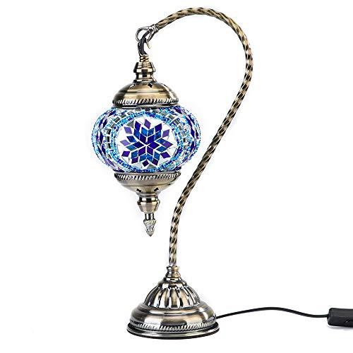 Kindgoo Lámpara Turca de Mosaico in Cristal de Mesilla Colgante Swan Neck Bronze Base (Azul)
