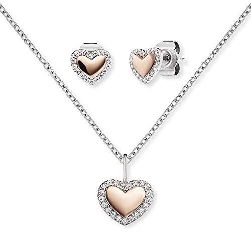 Engelsrufer Set ERMT-LILHEART6-BI-ZI Halskette und Ohrstecker Sterling Silber synthetischer Zirkonia