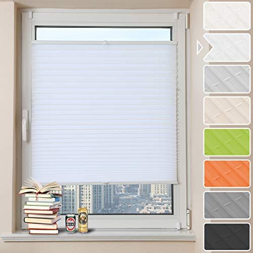 Y&D Tech Plissee Klemmfix für Fenster ● (Weiß Crush, 35 x 100cm BxH) ● Faltrollo ohne Bohren, Jalousie Rollos Sichtschutz Sonnenschutz
