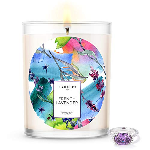 Kate Bissett Baubles French Lavender Scented Premium Candle and Jewelry with Surprise Ring Inside | 18 oz Large Candle | Made in USA | Parrafin Free | Size 08