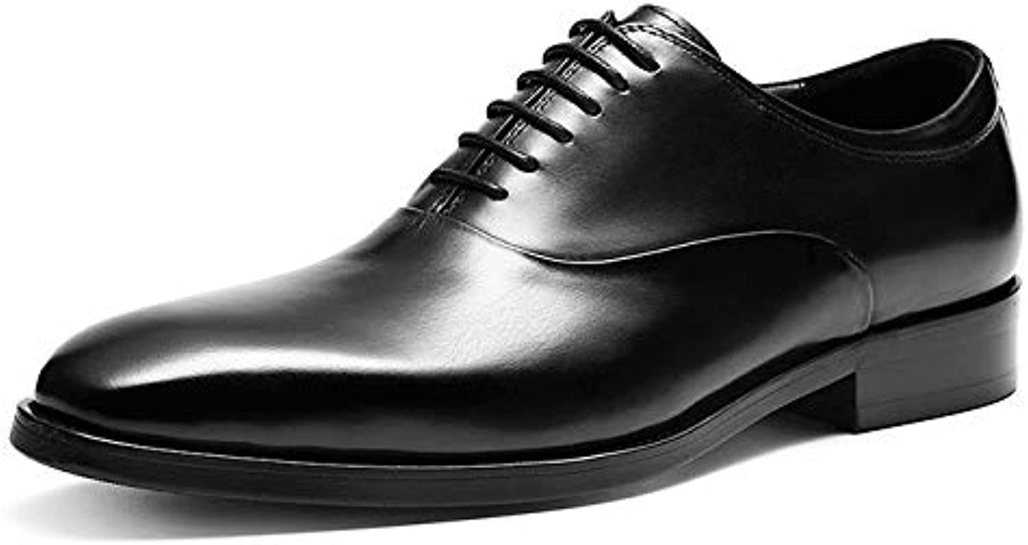 YongBe Men's Office Work Business Black Leather Lace-Up shoes Oxford Formal Smart Derby Loafer Flats Wedding Party Red Dress shoes For Men