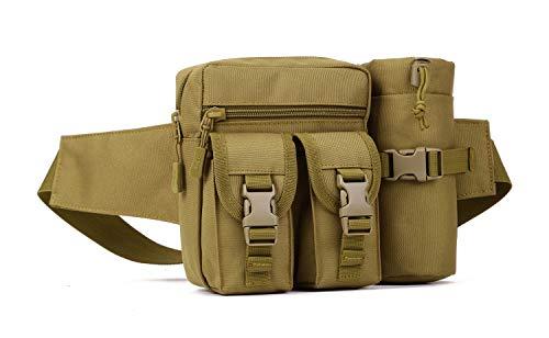 Yakmoo Bolso de Cintura Estilo Militar Táctico Bolsa de Riñonera o Bandolera Impermeable con Bolsillo para Botella al Aire Libre Marrón