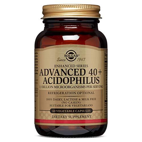 Las cápsulas vegetales de 40+ acidophilus avanzado de Solgar son una fuente de microorganismos L-acidophilus, L.paracasei, L. rhamnosus GG, B.lactis, S.thermophilus Complejo de 40+ acidophilus avanzado que aporta 1.500 millones de microorganismos For...